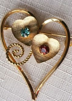 """Symbolic """"two hearts"""" inside one. Gold filled and gorgeous heart pin!"""