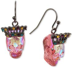 Betsey Johnson Two-Tone Multicolor Pave Crown & Skull Drop Earrings