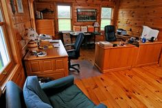 All wood home office, I can see Christian and I in an office like this!
