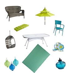 I love these colors for out by the pool:)   Blue and Green Theme with Pier 1 Outdoor Furniture