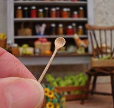 Round Wooden Mixing Spoon 1:12th Scale by WestonMiniature on Etsy