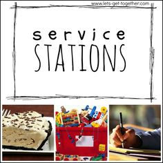 Service Stations from Let's Get Together-a simple service activity for youth that can be put together at the last minute. (1 of 5 last minute activities in this post. Great resource to hold on to!) www.lets-get-together.com #service #lds #youth