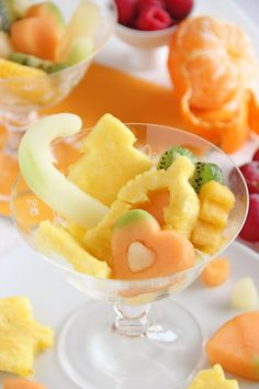 Fancy Fruit Salad - love how the fruits are cut out with tiny cookie cutters