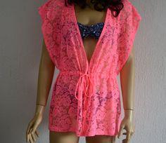 Neon pink crochet lace caftan beach cover up summer dress boho dress summer tunic women's fashion summer trend swimsuit cover up