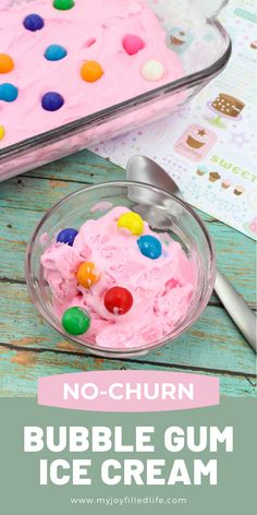This bubble gum ice cream recipe is the perfect treat for summer.  It's super easy to make and is a fun treat for the kids. #homemadeicecream #icecreamrecipe #summertreat #icecream Kid Desserts, Frozen Desserts, Frozen Treats, Dessert Recipes, Bubble Gum Ice Cream, Ice Cream Theme, No Churn Ice Cream, Homemade Ice Cream, Summer Treats