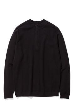 Norse Projects Rune Tech Black - Lightweight Knit - Milano Stitching - Turtleneck collar - Half zip - Coolmax wool - Made in in Italy. Norse Projects, Runes, Turtle Neck, Zip, Sweatshirts, Stitching, Sweaters, How To Make, Jackets
