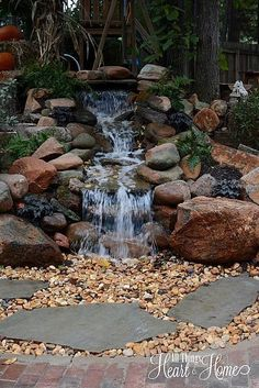 Pond-less waterfall...great idea! - Adventure Time - Adventure Ideaz Backyard Waterfalls, Backyard Ponds, Backyard Water Feature, Backyard Ideas, Garden Ponds, Garden Paving, Lawn And Garden, Outdoor Fountains, Water Fountains