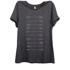 Arrows Evolution Womens Relaxed T-Shirt Tee Charcoal Grey (£20) ❤ liked on Polyvore featuring tops, t-shirts, blue top, charcoal gray t shirt, relaxed fit tops, charcoal t shirt and blue tee