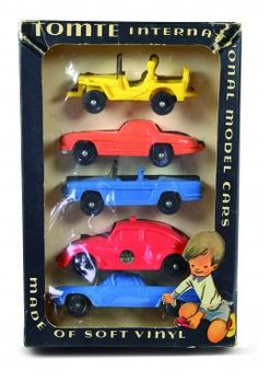 Tomtebiler i originaleske. 5 modeller i eske. Kom i 4 modeller og fargevarianter. Serien 1:43