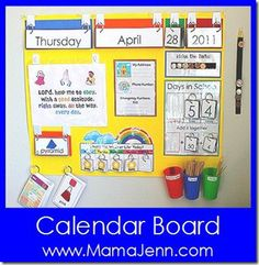 Calendar Board from Mama Jenn - like the place value sticks and the Lord, Help me OBEY printable!