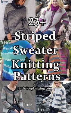Striped Sweater Knitting Patterns. These pullovers, cardigans, and tops feature stripes of color, stitches, and more. Many of the patterns are free Pullover Sweaters, Cardigans, Sweater Knitting Patterns, Striped Sweaters, Stitches, Stripes, Embroidery, Color, Ponchos