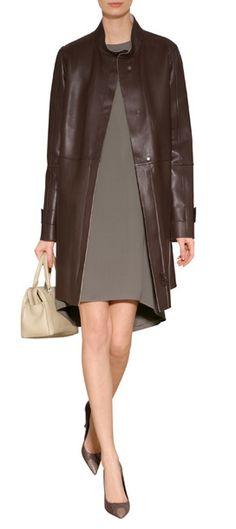 BRUNELLO CUCINELLI Leather Car Coat $ 8,015 Designer Leather Jackets, Leather Design, Brunello Cucinelli, Coat, Collection, Fashion, Moda, Sewing Coat, Fashion Styles