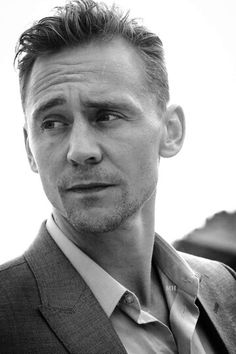 Tom Hiddleston black and white