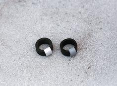 SAKURU black rubber and metallic rings by Eleni Pashalidou