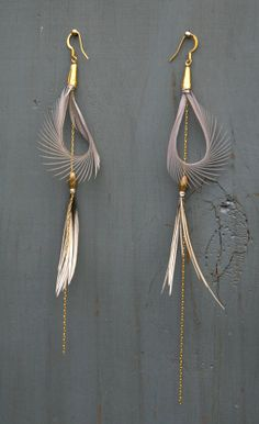 Free Spirit Hooped Feather Earrings in Grey with a Double Tier Design for the Bohemian Free Spirit
