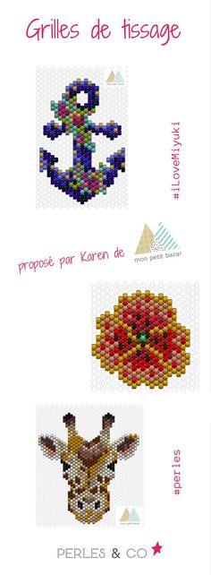 Retrouvez les grilles de tissage de perles Miyuki créées par Karen du blog Mon Petit bazar. Vous craquerez forcément sur un des motifs ... mais lequel? la girafe? le coquelicot? ou bien l'ancre marine? >> https://www.perlesandco.com/schemas-Tissage_de_perles-sc-47.html