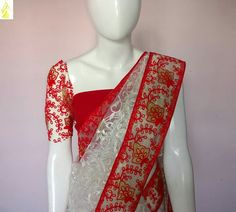 White net embroidered saree with red embroidered net border White Saree, Boutique Clothing, Kimono Top, Clothes For Women, Red, Tops, Fashion, Outerwear Women, Moda