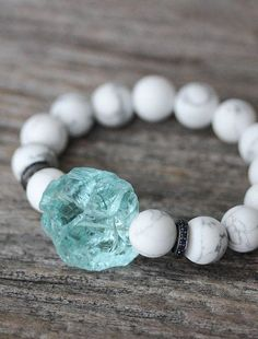 Sapphire Blue Quartz Snow White Bracelet / Sterling