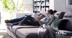 3 ikea kivik chaises together to make a gigantic comfy sofa!