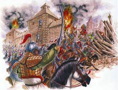 Bulgar fortress under Mongol siege