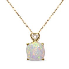 NissoniJewelry presents - Ladies Diamond Accent Pendant and chain with Created Opal in 10k Yellow Gold    Model Number:PV3539-W055COP    http://swisswatchesnissoni.blogspot.com/2016/05/ladies-diamond-accent-pendant-and-chain_5.html