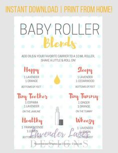 PLEASE READ ALL INFORMATION BELOW :) This baby roller recipe card with Young Living essential oils is a wonderful resource for essential oil users!  Details: • Offers oil roller combinations specifically for kids, for many common health and wellness needs, including mostly oils from the premium starter kit • A great resources for oil-loving parents! • Print and laminate & pop it on the fridge for easy referencing! • This is a COMPLIANT piece. ---------------------- HOW IT WORKS -------------