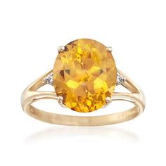 Ross-Simons - 3.00 Carat Citrine Ring With Diamond Accents in 14kt Yellow Gold - #831147