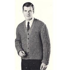 Mens Bulky Knitted Cardigan Pattern L-XL to Size 46