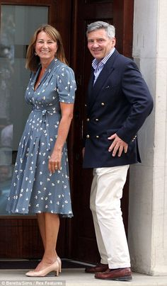 Carole Middleton and Michael Middleton at St Mary's Hospital to visit the new prince