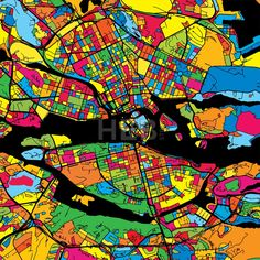 Stockholm Sweden Colorful Map by Hebstreit #map #gift #beautiful #download #digital #vector #art #stockimage #hebstreit