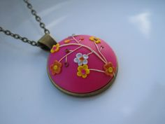 Pink Handmade Unique Polymer Clay Necklace in Bronze Cameo Setting - Free Shipping