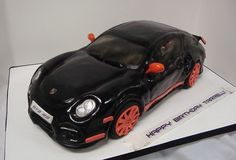 #Porsche GT2 cake. #ShowMeTheCarCake 3d Cakes, Cupcake Cakes, Bolo Original, Diy Projects To Make And Sell, Making Fondant, Man Birthday, Birthday Cake, Birthday Invitations, Cake Shapes