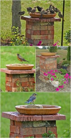 20 Incredibly Creative Ways To Reuse Old Bricks - DIY & Crafts Summer is finally here and with it comes the urge to get outside and spruce up that landscape. If you've been looking for things to do with that pile of old bricks, I've got a Brick Projects, Diy Garden Projects, Brick Crafts, Brick Planter, Diy Bird Bath, Bird Bath Garden, Planter Garden, Patio Planters, Modern Gardens