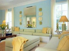 Tips to choosing tge right living room colour schenes: Green-Yellow-Beach-Living-Room-Color-Schemes-Design