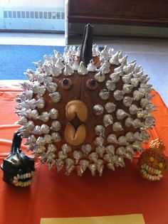 Our very own Puffer Fish creation!  Thank you Hersey's Kisses!!!!  My son made this and won 1st Place at his pumpkin decorating contest!