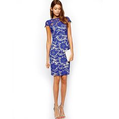 Doneli Fashion Scarlett Lace Dress, Blue, Small