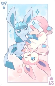 Glaceon and Sylveon Pokemon Fan Art, Fotos Do Pokemon, Pokemon Memes, Pokemon Go, Pokemon Fairy, Eevee Wallpaper, Cute Pokemon Wallpaper, Kawaii Wallpaper, Kawaii Drawings