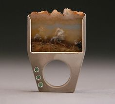 Ring | Erin Marie Holstein. 'Picture'  Sterling silver, MacDonald plume agate, alexandrite.  The agate was cut from a slab and hand polished by the artist.