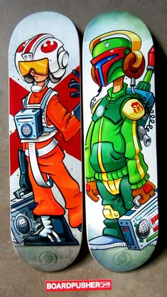 "Seems appropriate that this week's www.BoardPusher.com Featured Decks are a couple of Star Wars inspired skateboard graphics. ""BBOY XWING"" and ""BBOY Fett"" were created by David Gonzalez and are a part of his BBOY BOOMBOX series. Check out the rest of the series and more of David's artwork at www.nopalArt.com."