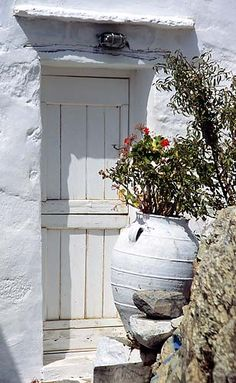 Santorini ~ Greece, white wooden door, weathered, rustic, entrance, flower pot, beauty, lovely, cracks