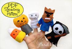 Digital Pattern: Halloween Friends 01 Felt Finger Puppets