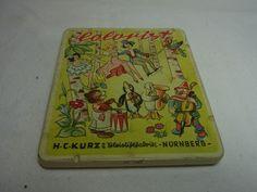 Vintage German Nuremberg Tin Pencil Box Colorist  H.C. Kurz #CM #Kurz
