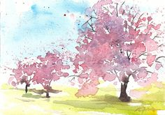 Small format No.2 - Spring tree 2 of 4 - 5x7inches original watercolor painting