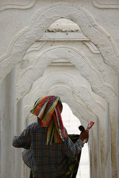 Woman Under Arcades, Myanmar, Eric Lafforgue