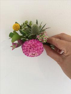Rustic pink buttonhole groom wedding dahlia sea holly instagram @ivyandlaceloves