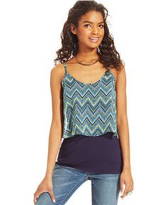 BCX Printed Layered Top - Juniors Tops - Macy's