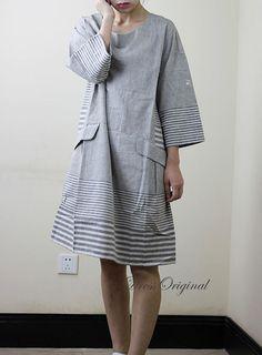 Linen dress 100% linen shirt long sleeve blouse by DressOriginal