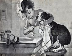 """Dog and Little Girl Print - """"Brush Your Teeth"""" - 1920s  Restored Antique Print - GREAT #Dentist Gift - GREAT Bath Print  offered by #annswhimsey"""