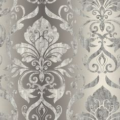 Chesapeake Lulu Charcoal Smiling Damask Wallpaper Sample - The Home Depot