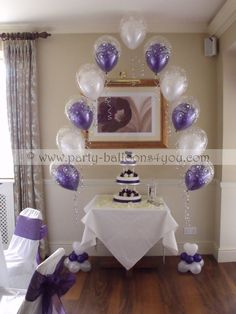 deco for chairs for baptismal | single double bubble balloon arch cake table